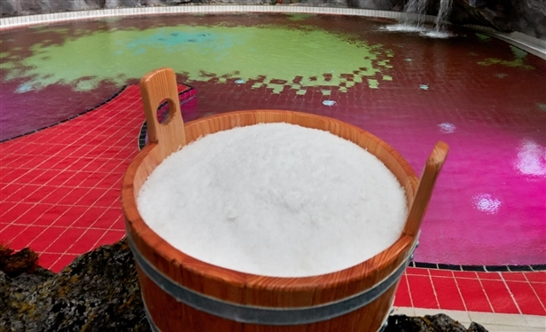 Water from a state-approved mineral spring is mixed with 6 tons of natural salt